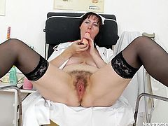 Blanka knows, she would not be able to do her job well as a nurse, if she did not have fun during her lunch breaks. So, she gets a bed in a room and gets her dildo with her too. She touches her tight and sexy pussy with her fingers. She makes sure she is feeding her pussy well during lunch break!
