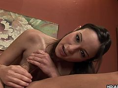 Teen Amber Rayne gives best deep throat blowjob
