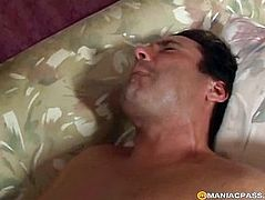 The girl with big breasts fucks guy anal