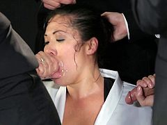 That's a lot of cum for one Asian chic but she takes it all in this gangbang tape