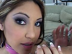 Ravishing babe gives a blowjob the gets drilled in a wild threesome