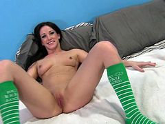 Beautiful cowgirl in socks giving big cock handjob before getting her juicy pussy being logged hardcore doggystyle in interracial sex