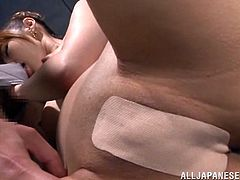 This Japanese slut has her pussy right up close against the camera and it looks so sexy, even though she still has her pantyhose on. The bad girl sucks on her mans cock and she is really wanting to see sperm shoot in her pretty mouth. When he licks her nipples, it turns her on so much.