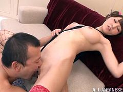 Can you feel the heat, when you see a Japanese shaved pussy? The naughty slut loves when her cunt is eaten with so much passion. See her rewarding the horny guy with a deep throat sensual blowjob. The 69 position is also at a high rank. The bitch with small tits shows her enthusiasm to ride cock!