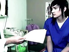 Gorgeous mature doctor seduces a young brunette patient