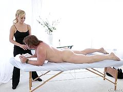 Massage tables is the best place to fuck. That's why, when Cherie Deville got a chance to massage Evan Stone's sexy body, she made sure, she did not leave the chance to get fucked by him. Watch Cherie make moves, as Evan stone lies on the table with his dick hard as a rock. She lets him suck her nipple, as she prepares for the big fuck that lies ahead.