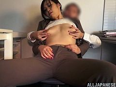 What to do when you're horny at work? Playing dirty with the sexy work collegue in the office, seems the best idea! Click to see the slutty Japanese babe, dressed elegantly, showing off her small lovely tits. The lusty lady gets down to suck the persuasive guy's cock with passion. Watch the details!