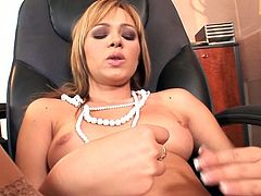 Red haired secretary strips and masturbates pussy on boss's table