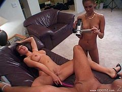 Caroline Cage, Sheila Rose and Eva Roberts carpet munching and toying