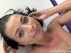 Leyla is a hot lady with an amazing body and long black hair. All she wants is to pee all over herself. The naked slut shows her appetizing ass and pussy, and the camera catches closeups of her fetish in full action. Watch the bitchy babe drinking piss and enjoying it!