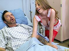 He pays his nurse to suck his cock and make him feel better. She takes off her scrubs and reveals her sexy lingerie underneath. Look at how she sticks his big cock into her mouth. She loves to suck on him and make his dick harder and harder.