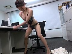 Japanese work culture can take a toll on a nubile girl. No time to eat well or even for sex. The only way to be happy, is to masturbate. And this hot chick does not even have time to do it at home. She does it on the revolving chair in her office. Watch her strip into her sex underwear and then, finger herself really hard, before she screams with passion.
