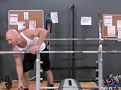 The big breasted women are so impressed by how much he can bench press, that they need to suck on his rock hard cock. He sucks on the blonde's nipples and they all take turns sucking on his massive rock, while he lays back on the weight bench.