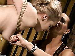 Blonde Nesty with gigantic tits is another fucktoy of insatiable lesbian Mandy Bright