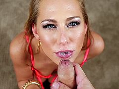 Carter Cruise shows her beautiful eyes as she sucks cock