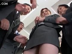 Sexy asian office secretary gets pussy teased thru undies in group