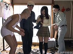 Rin met a few guys on her way home from school and soon, she was going home with them. They pulled her clothes off and pushed her panties aside, to show off her lovely pussy, which they played with and rubbed.