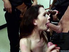 If you are into gang bangs, click to see a slutty brunette awfully used right in the police section. The horny guys undress the attractive milf and squeeze her small lovely tits. Her smiling and intense regard are a huge turn on. Sarah wants to taste their hard dicks. See her sucking cocks down to the balls.