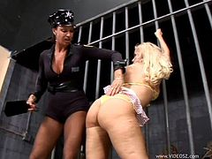 Hot lesbians get searched in a jail by a female cop
