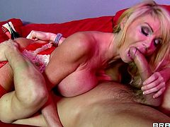 Vivacious blonde milf with fake tits gets her pussy bonked hardcore after delivering a blowjob