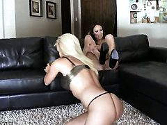 Blonde with big melons and Sandee Westgate are lesbian love birds that do it with passion and desire