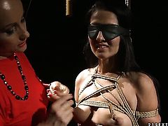 Mature Katy Parker with big hooters gets her hole attacked by lesbian Deborah Blacks tongue