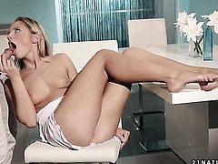 Blonde Vanda Lust and hard dicked fuck buddy have vigorous sex