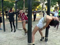 Two naked bitches on high heels, wearing ball gags, are tied with the same bond and have to cross the whole crowded street, until they reach a park, where many people are practicing exercises. See the dirty sluts hanging, while passers-by take photos shamelessly. Enjoy the show!
