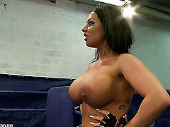 Brunette with juicy tits is ready to finger Kerry Louises snatch all night long