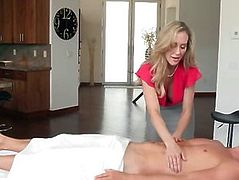 Busty stepmom Brandi Love horny threesome on massage table