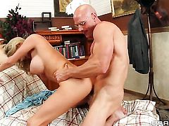 Johnny Sins pops out his meat stick to fuck good looking Blake Roses love hole