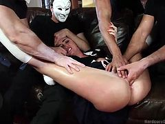 Bianca had no clue there's someone in her house and is shocked, when five angry men wearing masks circle her and ask her to suck their cocks. The attractive brunette's clothes are torn with lusty movements, while the guys enjoy the sight of her pussy. Click to see the slutty babe mouth fucked and gang banged.