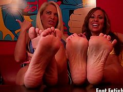 These lovely dominant women with sexy feet who wear size 6 and size 7 caught their pervert roommate stealing their shoes. They know how crazy he is for their feet.