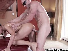 Busty Isis Love got a nice perfect body and what she got is a blind masseur, but got a well toned body and as horny as she is she decides to suck his dick and let him fuck her.