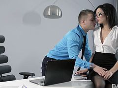 seductive lady sucks his boss's cock in the office