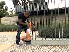 Rob Diesel is a wild horny man when it comes to humiliate a bitch in public. See him tying up the lonely Aris Dark to the iron bars and dominated her, to give a deep throat blowjob. He also plays with her nice titties, before giving her a few ram in the lower side, and fuck her slutty mouth again.