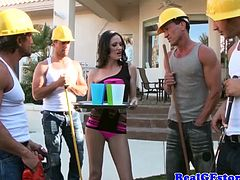 Raven housewife gang banged and facialized by four horny builders outdoors. Haily Young is a beautiful slim MILF. Watch her getting fucked in the pussy and her tight ass at the same time, while she gives a smooth head to the other guy. Enjoy!