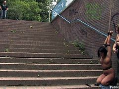 Brunette Hungarian milf with nice big tits is getting publicly humiliated by her mistress Harmony. The domina tied her on stairs, where people are watching Angelica's nice naked body, as she is getting teased by vibrator. Later she is blindfolded and a guy pushed his hard cock in her mouth.