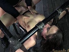 Petite Gabriella Paltrova suffers extreme deepthroating being bound