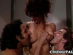 Horny babe Kristina King gets her pussy licked while sucking a hard cock in this hot retro MMF threeway scene. Babe gets her tits  and her pussy licked and then sucks cock and receives a hard banging.