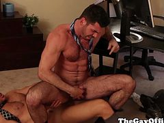 Office workers with ripped bodies Billy Santoro and Landon Conrad can deceive you because they are craving for a cock, not a pussy to fuck their buttholes.