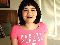 Are you fond of innocent naive teens? A short-haired brunette with small tits and nice ass, sensually removes her skirt, keeping only her pink panties on and t-shirt. She seems very excited and comes crawling towards the man with a big cock. You bet she finds it yummy and sucks it down to the balls...
