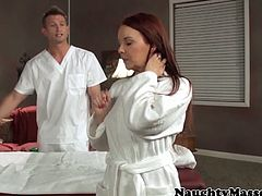 Alluring MILF Janet Mason shows her huge titties and her perfectly shaped ass as she got naked in the massage table and her masseur took advantage by having the guts fucking her tight pussy.