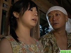 This mature Japanese goes in a barn with three guys. They all take turns at fucking her hairy pussy while she just lays there on the floor, enjoying what they do to her.
