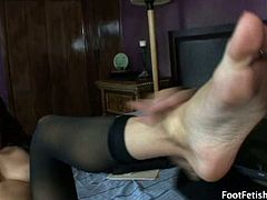 Dahlia needs a new personal assistant. In the course of interviewing Bill Glide, she notices him leering at her perfect size 6.5 stocking feet. She makes him do what any good assistant would do - worship those tootsies. He lick her toes, then her pussy and ass till she is hungry for his cock. The lucky guy gets a footjob before moving on to pound her in missionary, spoon (with her sexy feet in your face), and cowgirl till he blasts his load on her feet.