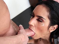 Tia looks eager to please her horny partner. The hungry babe is craving for a succulent cock and doesn't lose the chance to play with it. Click to watch the hot scene, where the seductive brunette with small lovely tits gets down on knees. She is totally engaged in a crazy blowjob.