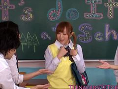 Japanese schoolgirl so innocent but curious and got cornered by her horny classmates as she volunteered to suck their cocks one by one before drenching her face with cum.