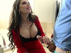 This hot milf wraps her hand around her man's huge cock and firmly grasps it. She is horny for his massive member. Another couple is getting kinky. He walks in on his wife doing laundry and gets turned on. She doesn't want to fuck, so he'll watch some porn on his phone instead.