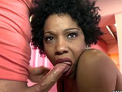 Tsunami shows off her beautiful black tits before riding a horny white boy.
