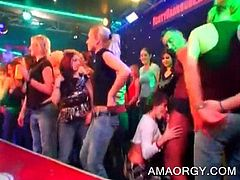 Lustful party girls eating stripper's hard cock at CFNM orgy